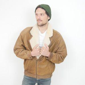 Vintage Brown Leather + Shearling Bomber Jacket